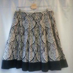 Apt 9 Cotton Retro Paisley Print Lined Skirt, 10P